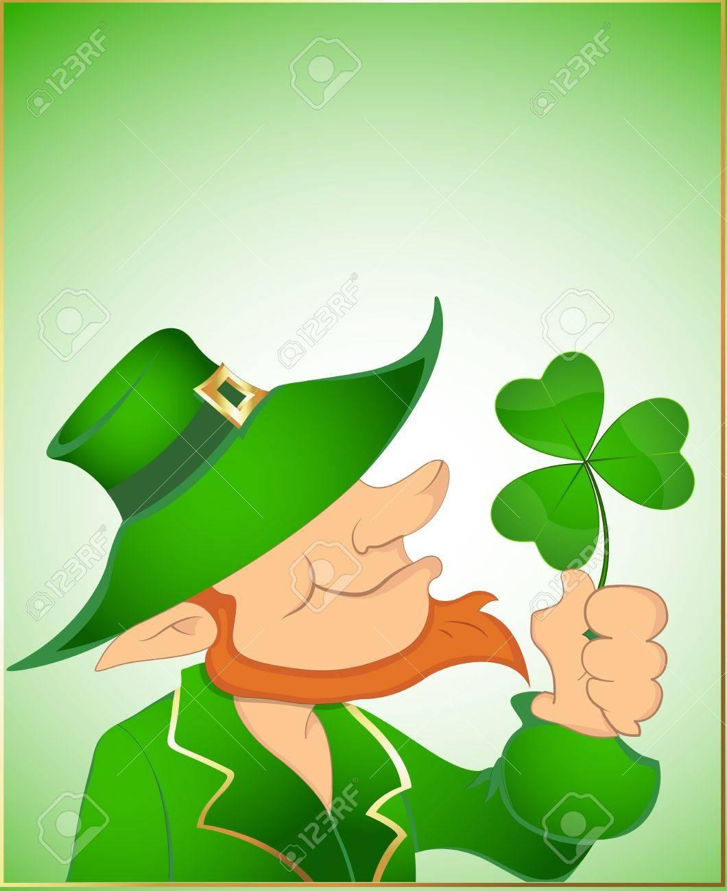 Illustration of Leprechaun with Shamrock Stock Vector - 12654789