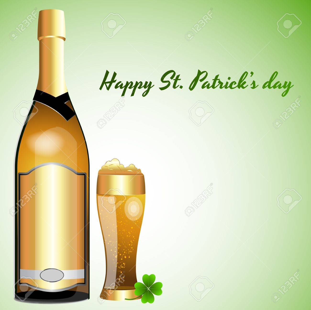 Beer Bottle with Glass of Beer Stock Vector - 12859073