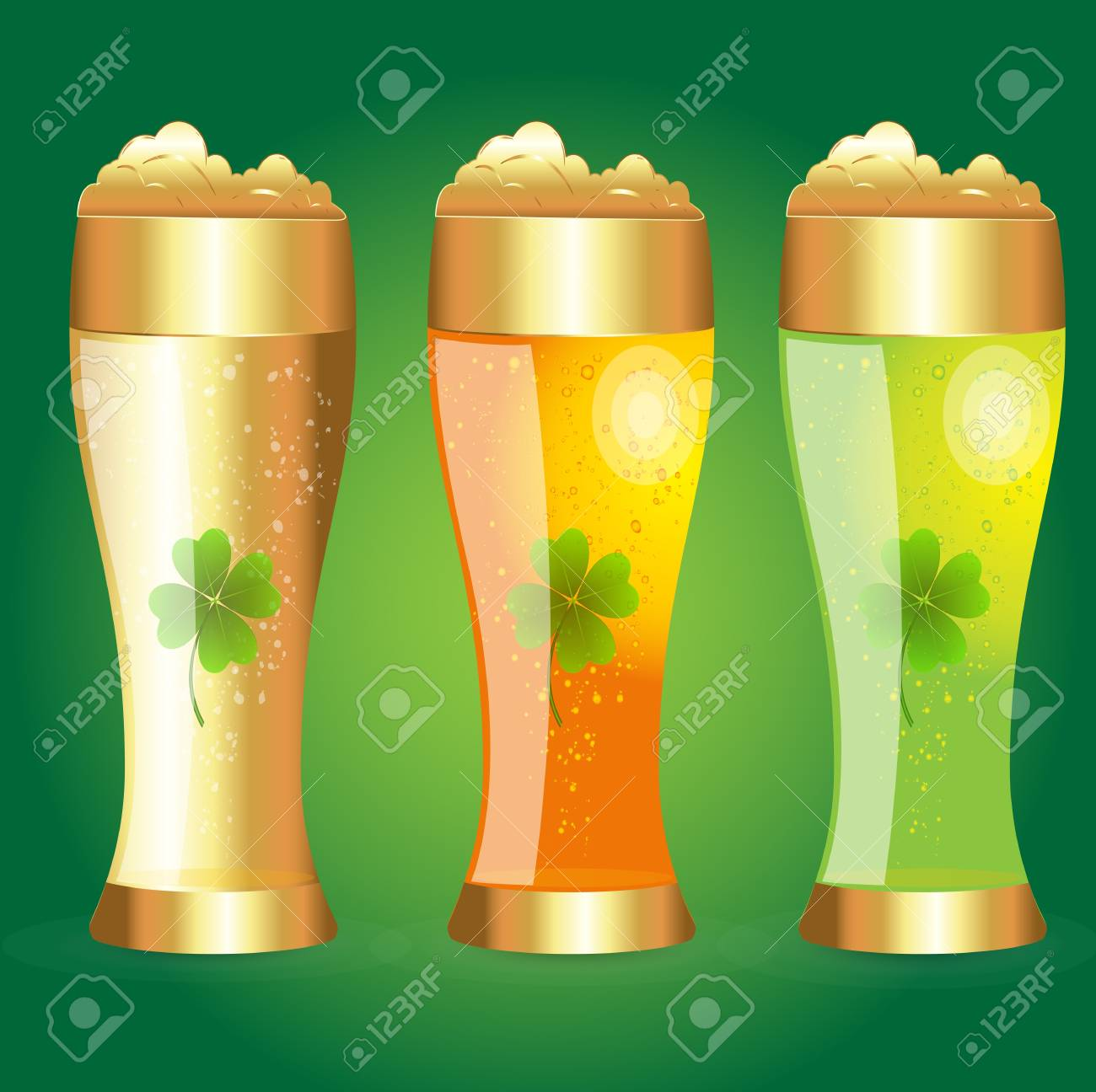 Set of Golden Glass of Beer Stock Vector - 12861144