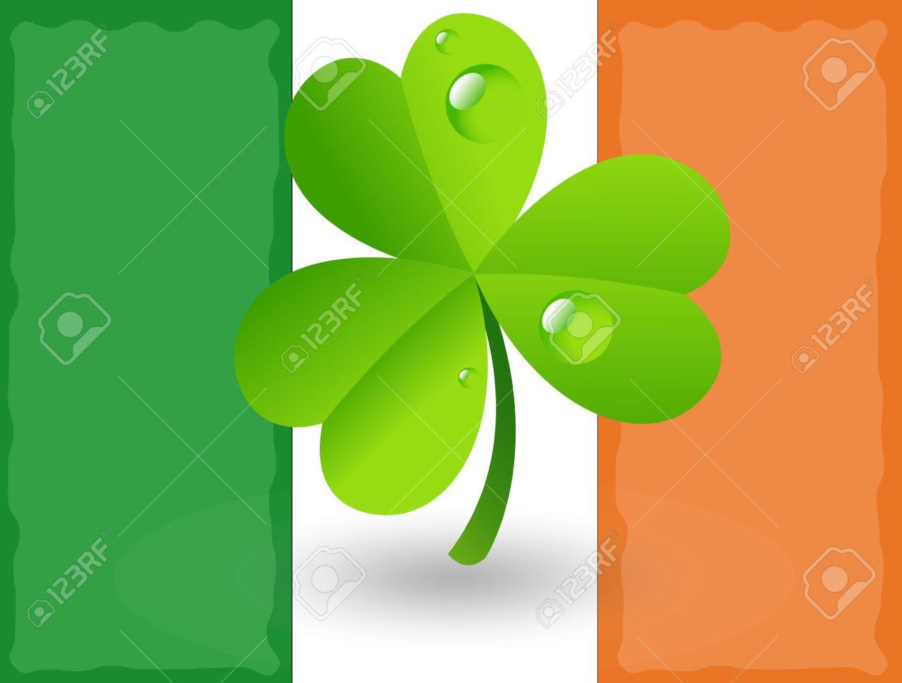 shamrock on irish flag background royalty free cliparts vectors