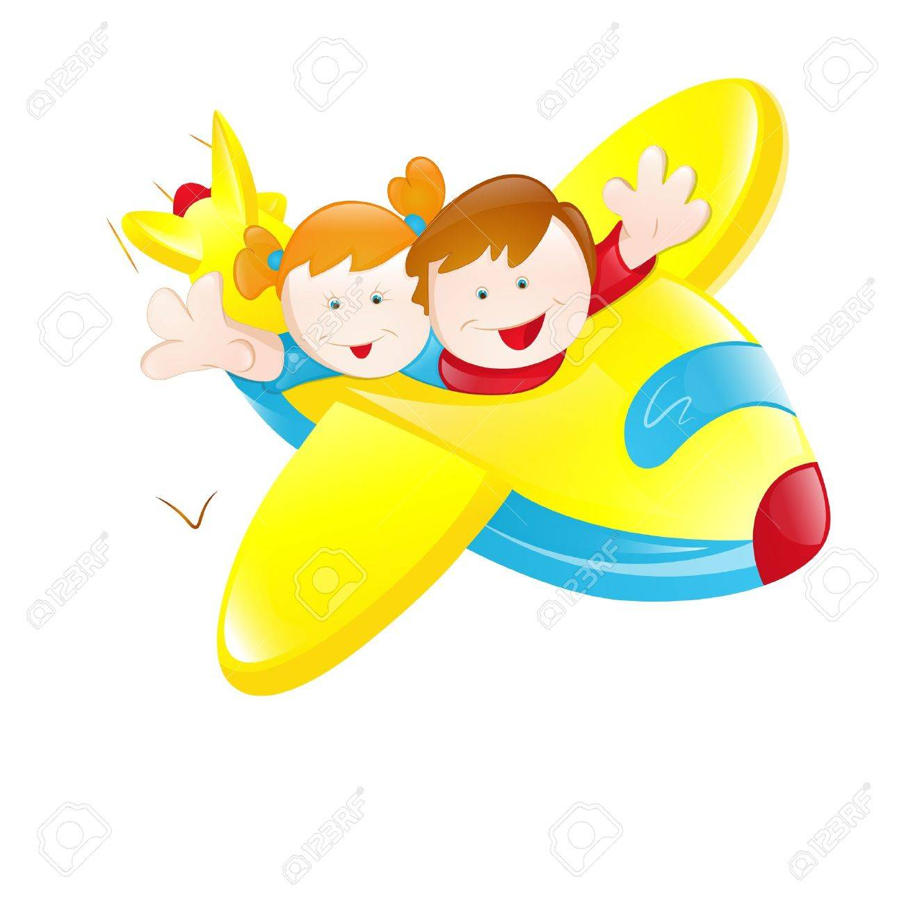 Kids Flying Plane Royalty Free Cliparts Vectors And Stock