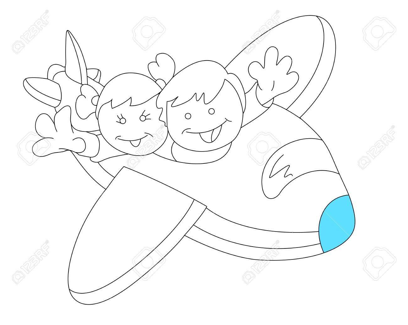 happy kids in plane sketch stock vector 13052147 - Sketch Images For Kids