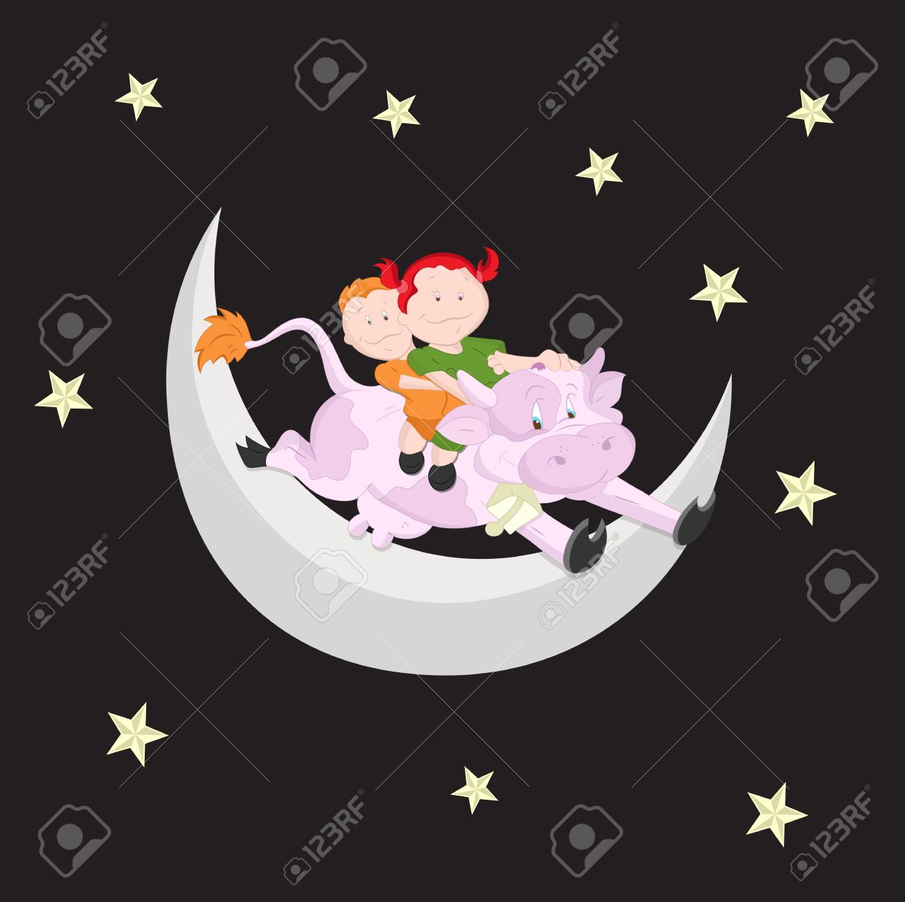 Kids on the Moon Stock Vector - 13052215