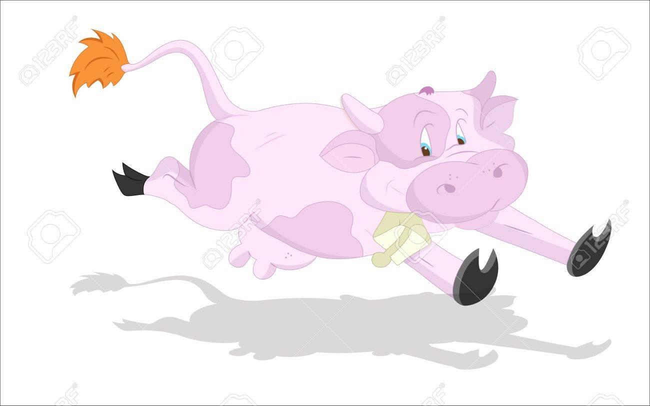 Running Cow Stock Vector - 13052207