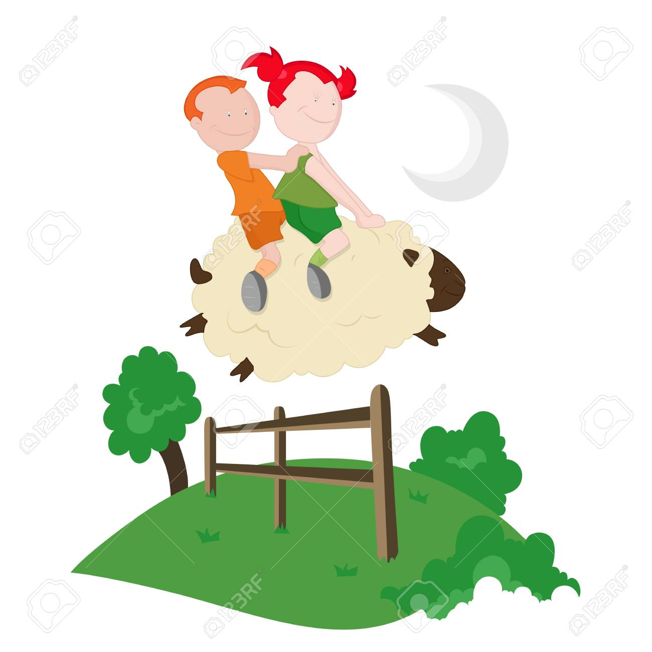 Kids Riding on Sheep Stock Vector - 13052205