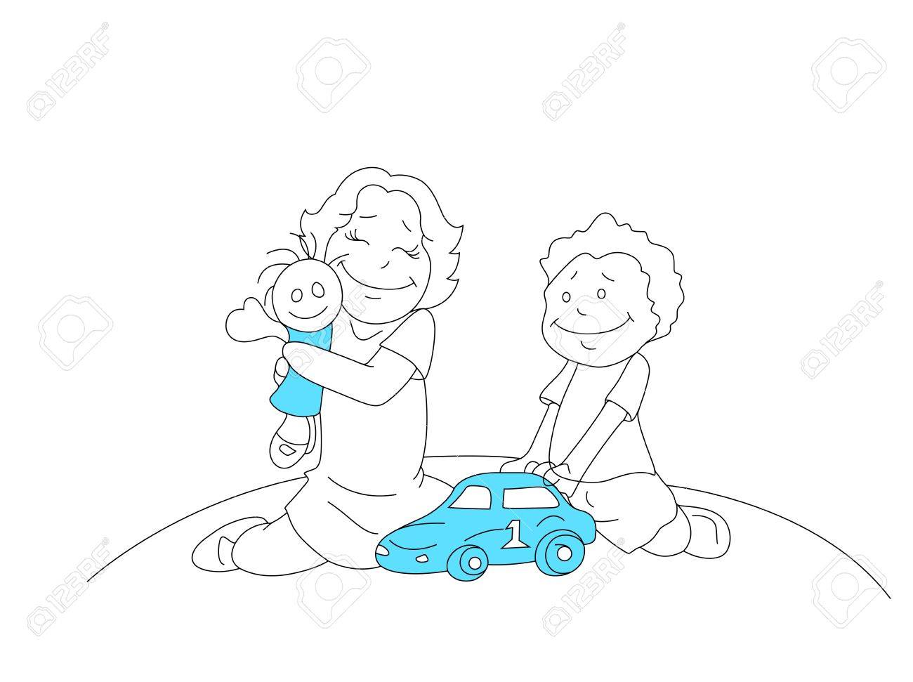Drawing Of Kids Playing With Toys Royalty Free Cliparts Vectors