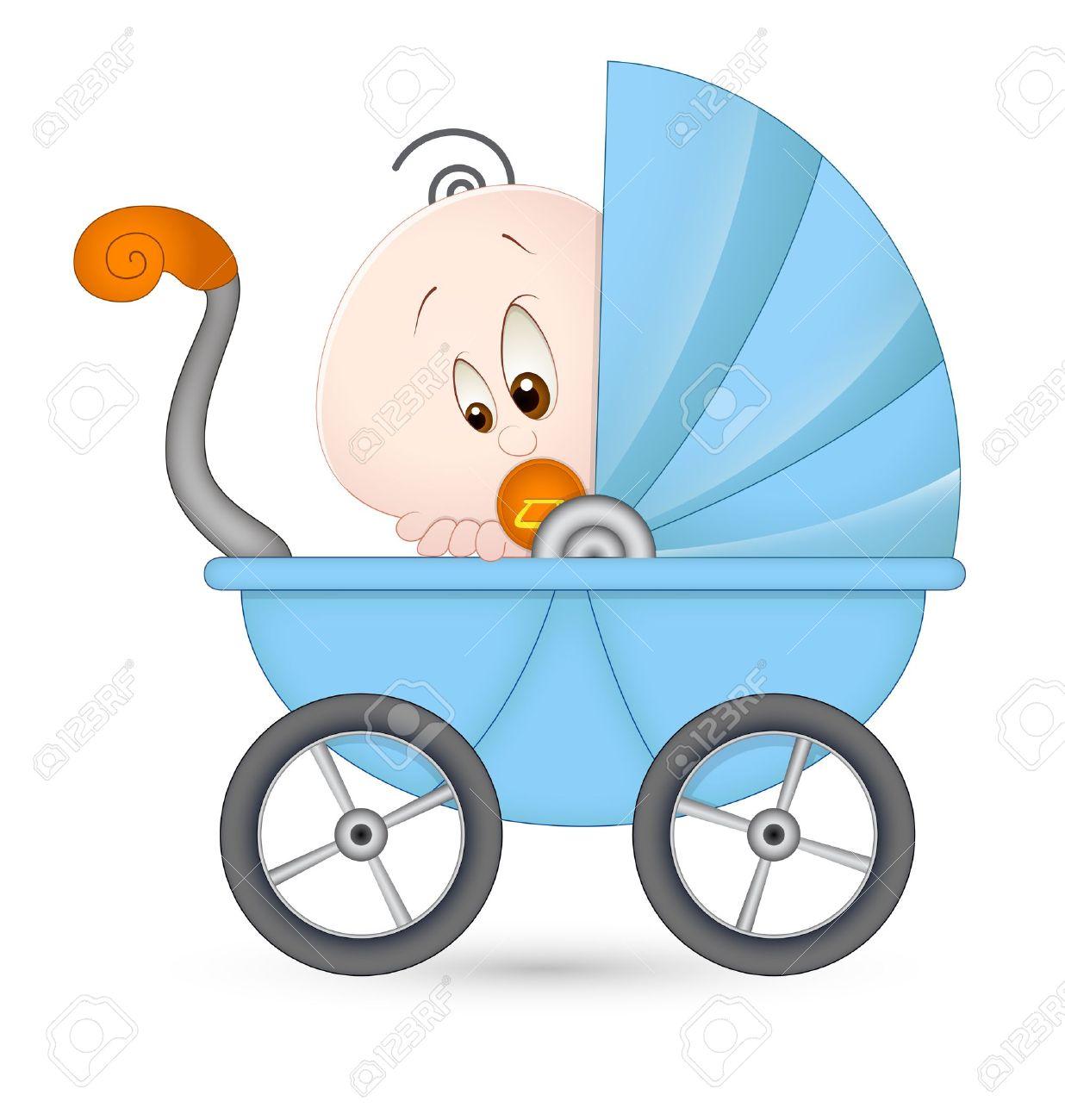 Cute Baby in Baby Stroller Stock Vector - 13094435
