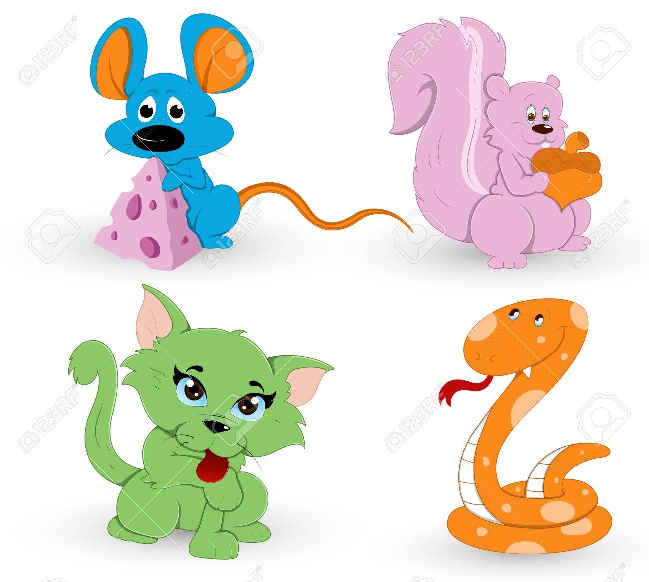 Cute Cartoon Animals Stock Vector - 13358209