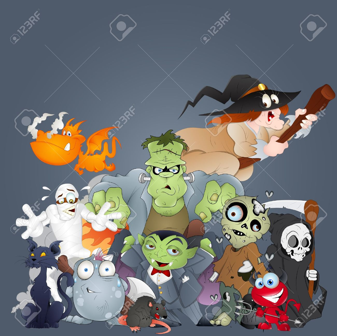 Collection of Monsters, Ghosts, Witches and More Stock Vector - 15759654