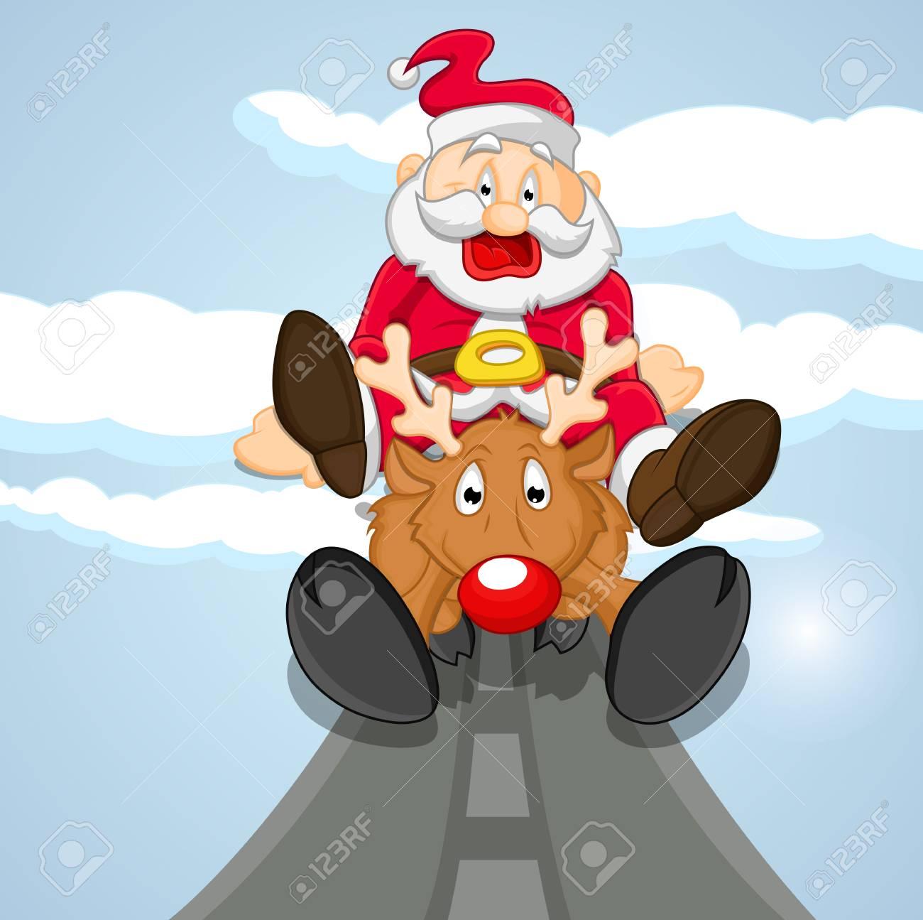 Funny Santa Coming on Reindeer Stock Vector - 16832523