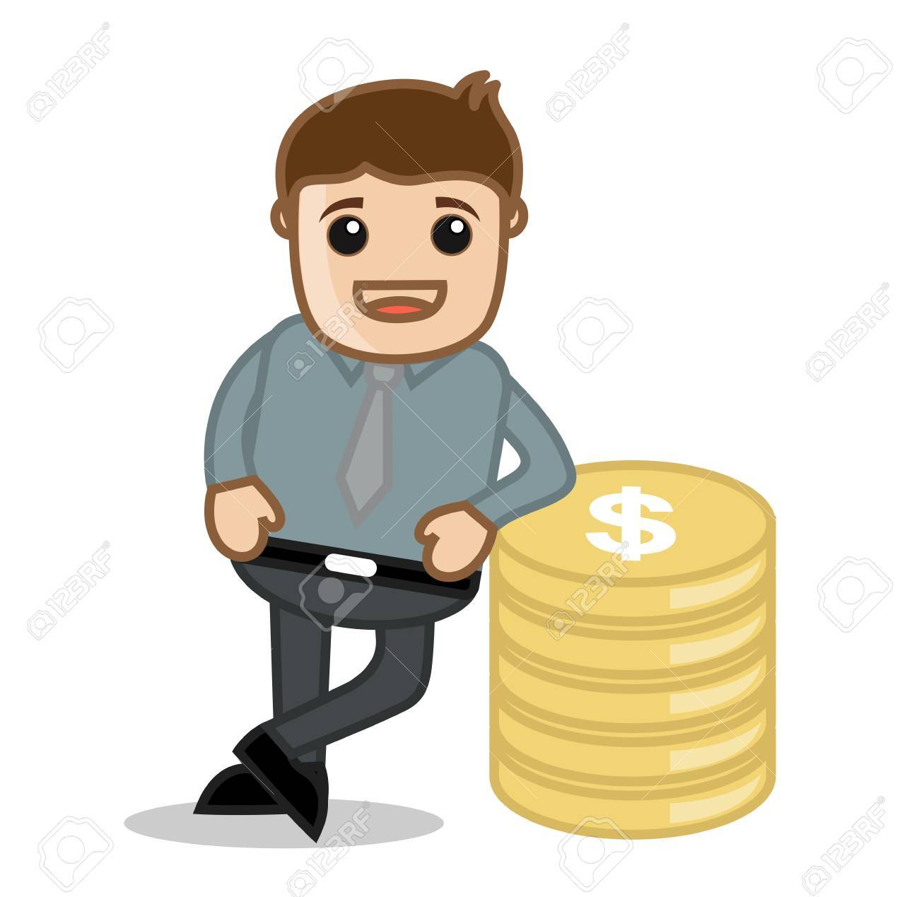 standing with gold money office and business cartoon character