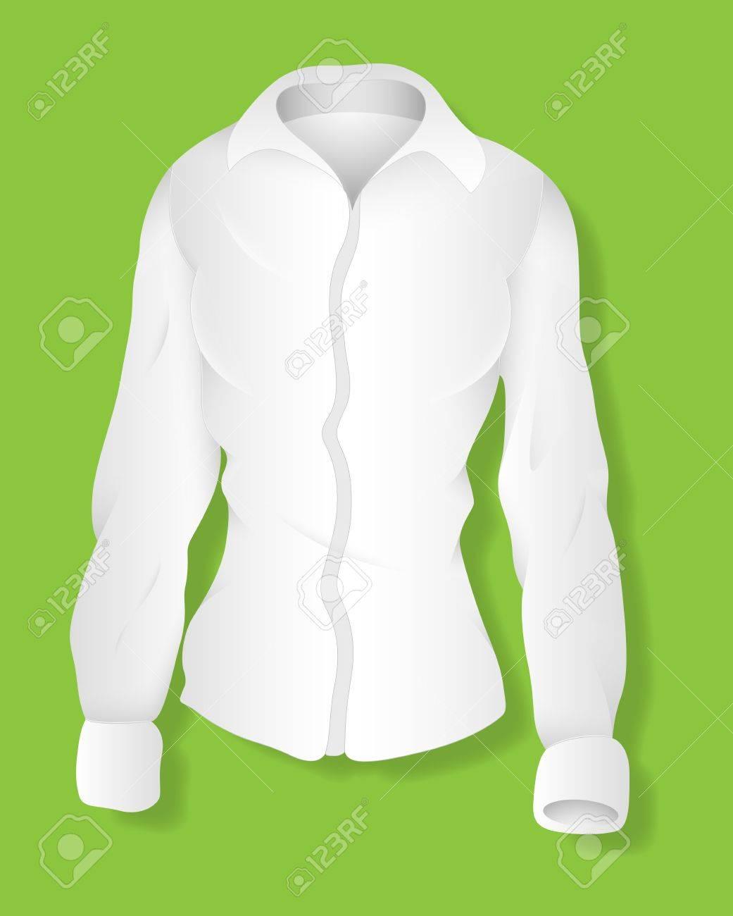 Shirt design illustrator template - Vector White Long Sleeves Female Shirt Design Illustration Template