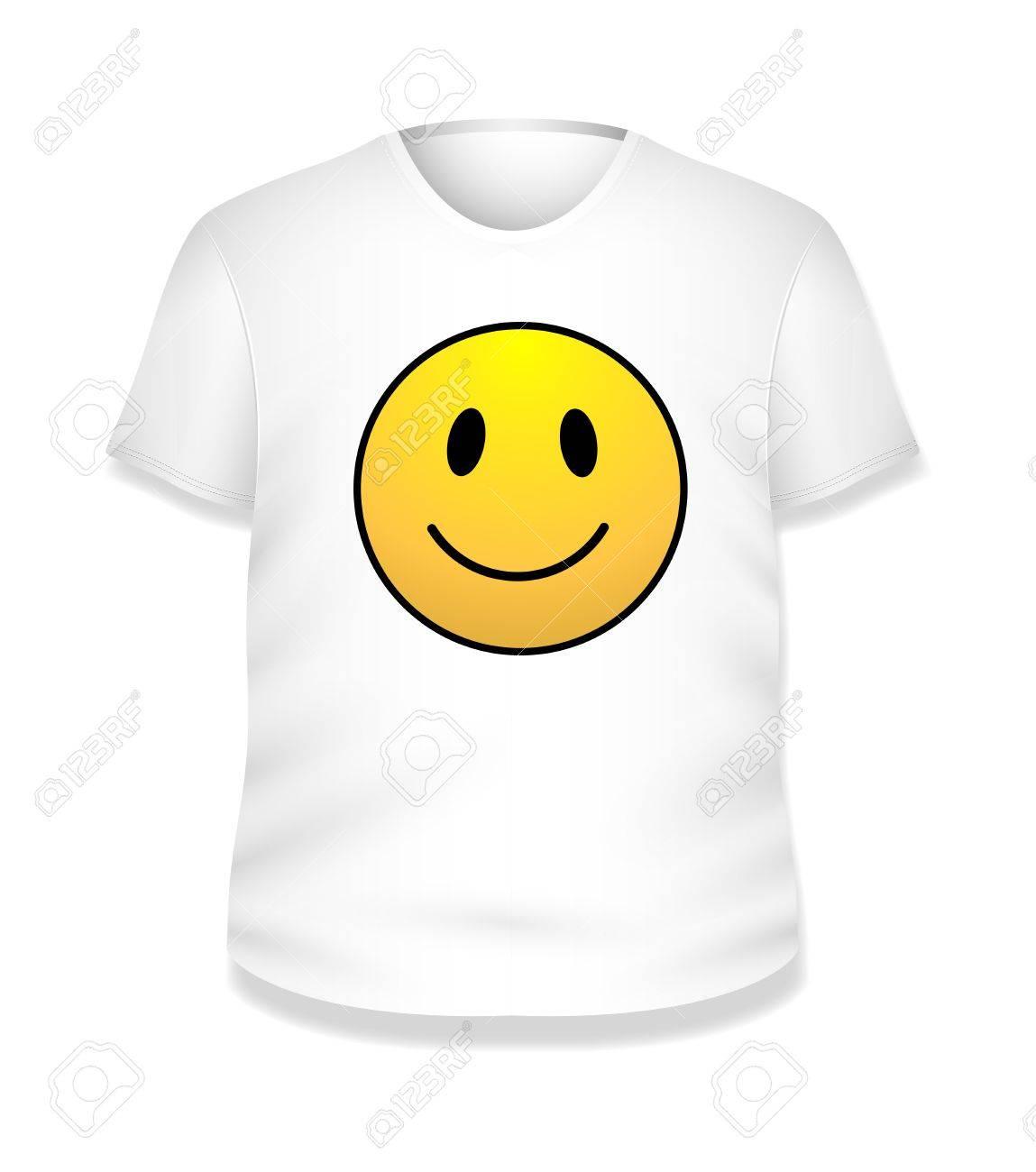 Shirt design illustrator template - Smiley Happy White T Shirt Design Illustration Template Stock Vector 19419800