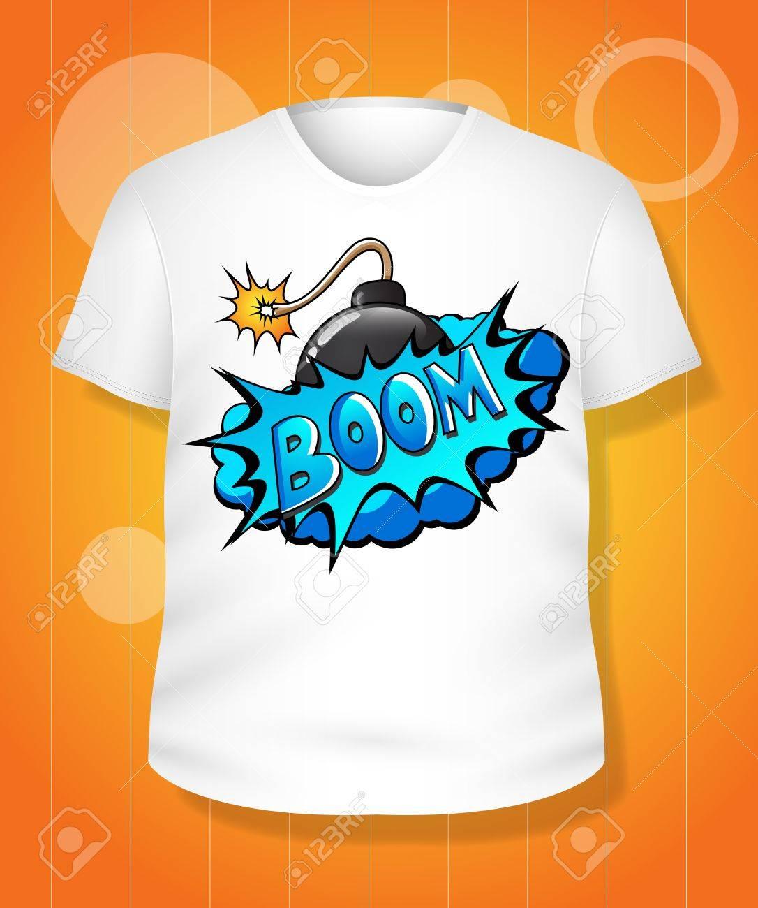 Shirt design illustrator template - Funny White T Shirt Design Illustration Template Stock Vector 19419817