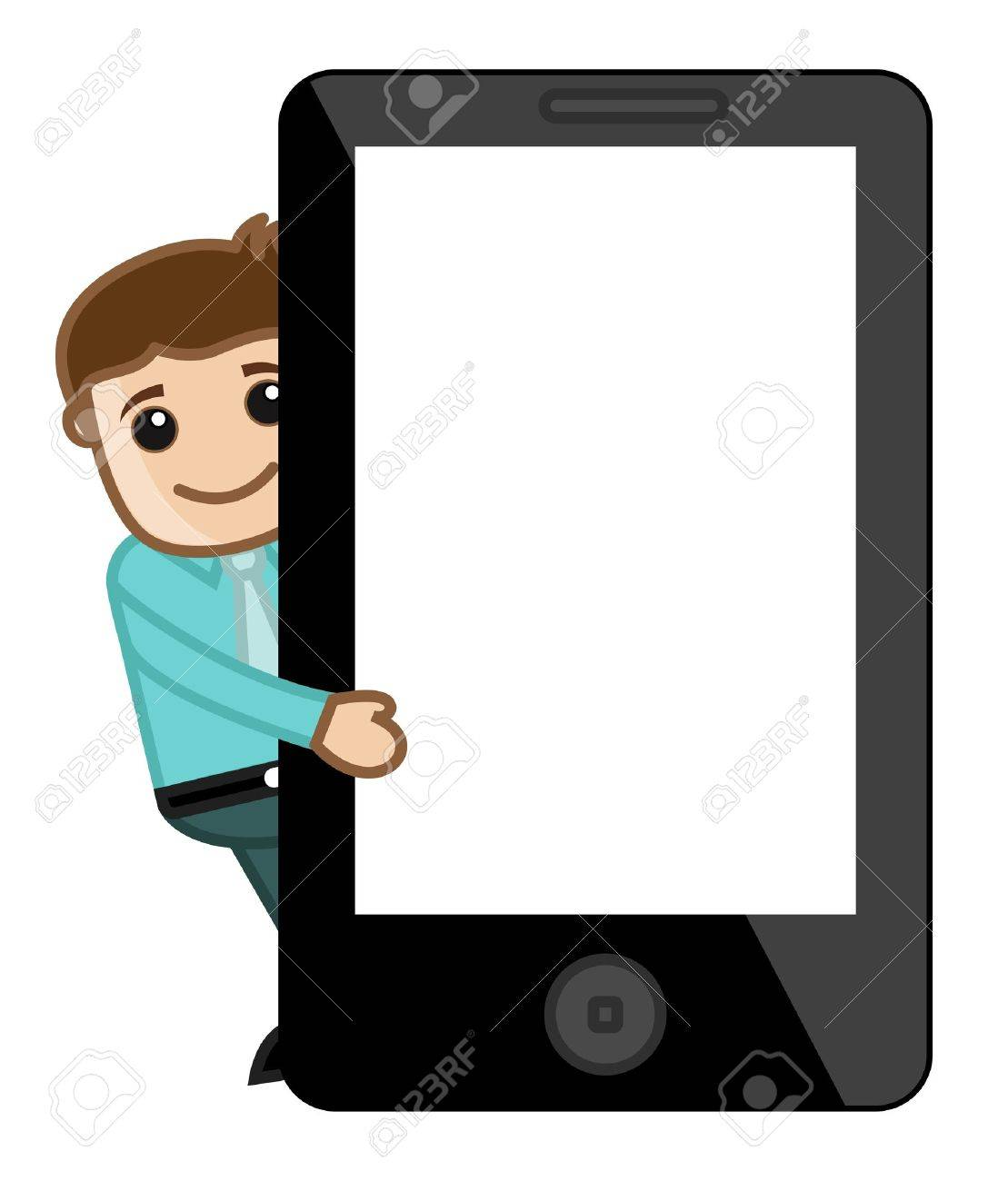 Man Presenting Tablet or Smartphone Stock Vector - 20771529