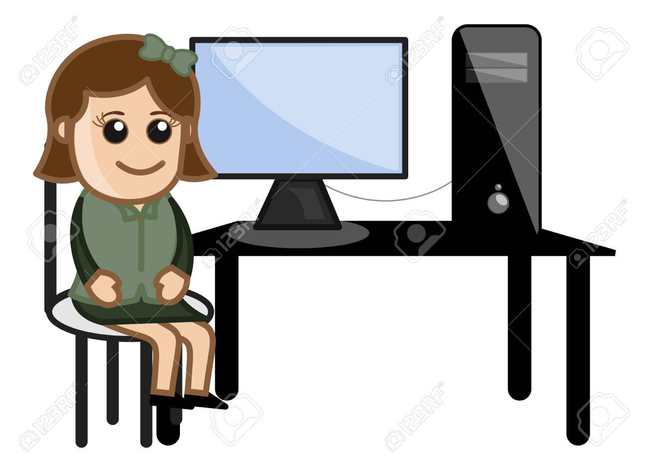 Computer with a girl Student Stock Vector - 20771744