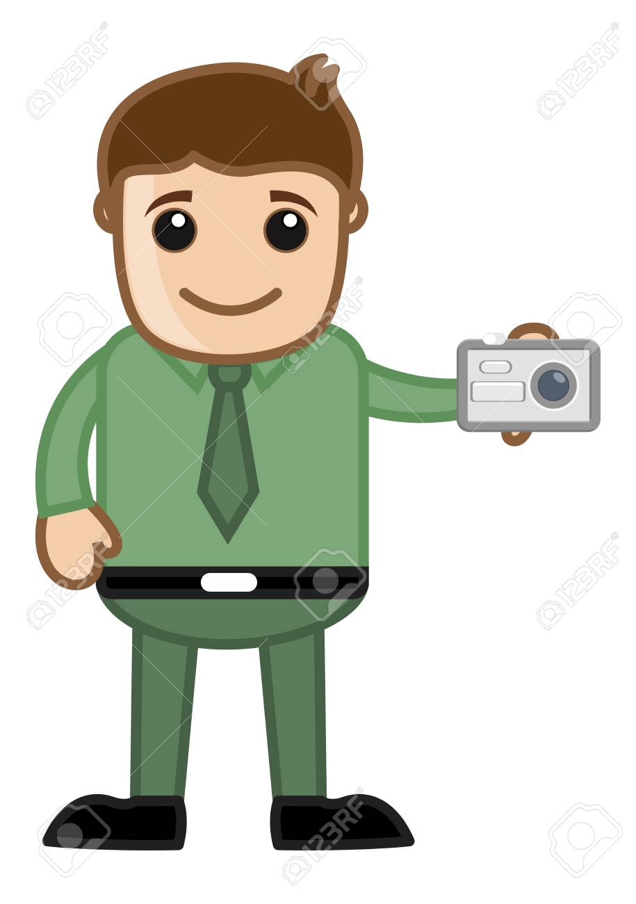 Clicking a Picture with Office man Character Stock Vector - 20771257