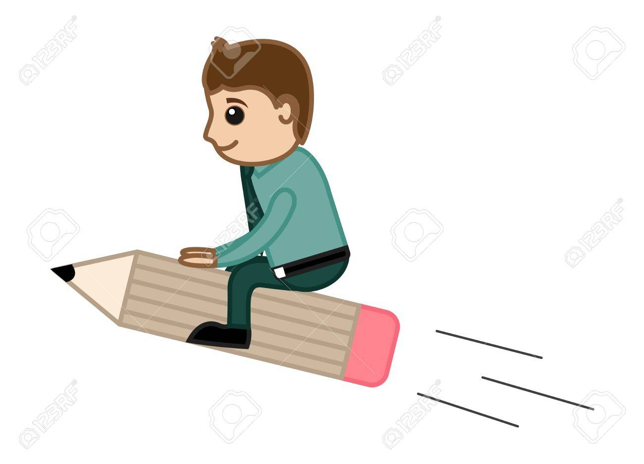 Man Riding on Pencil - Creative Office Character Vectors Stock Vector - 21073919