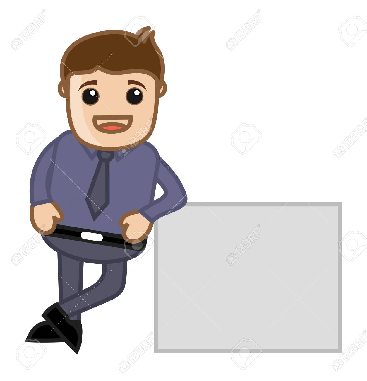 Man with White Banner - Business Cartoon Character Vector Stock Vector - 21098211