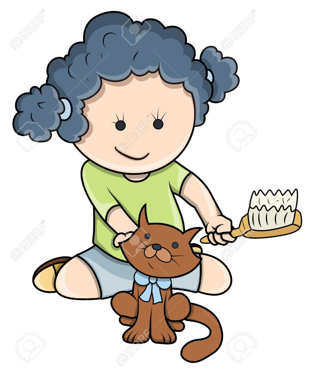 Small Girl Giving Bath To Cat - Vector Cartoon Illustration Stock Vector - 21098233