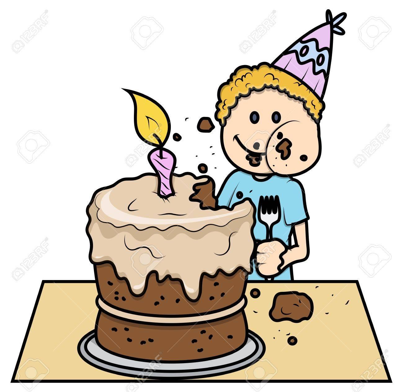 foto de archivo nio lindo comer su pastel de cumpleaos vector ilustracin de la historieta