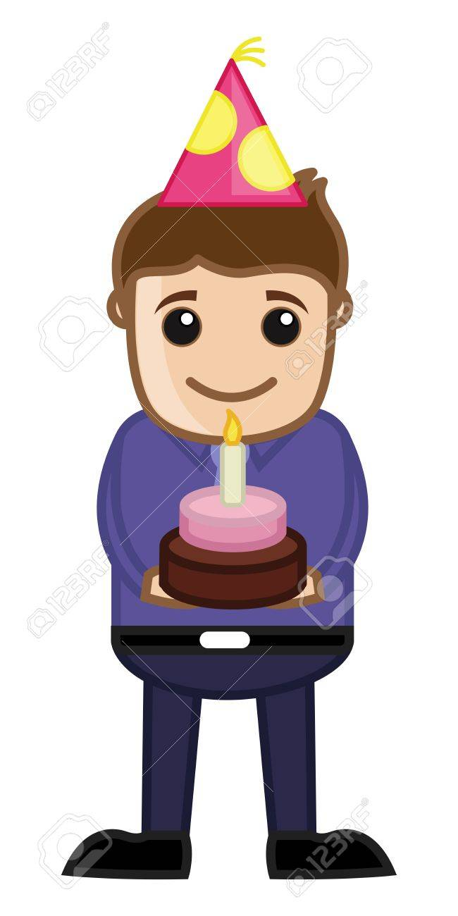 Birthday Cake Cartoon Business Character Royalty Free Cliparts