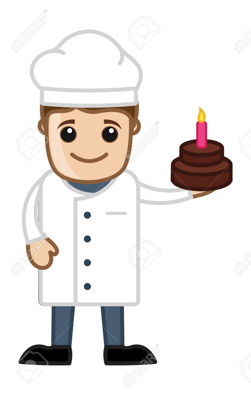 Chef Presenting Birthday Cake Cartoon Business Vector Character