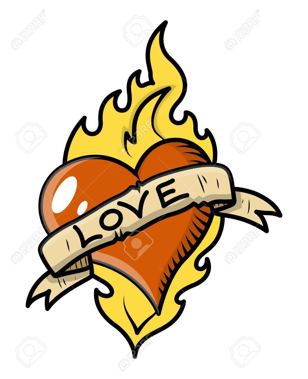 Retro Love Tattoo with Heart, Flame and Vintage Banner - Vector Illustration Stock Vector - 21233716