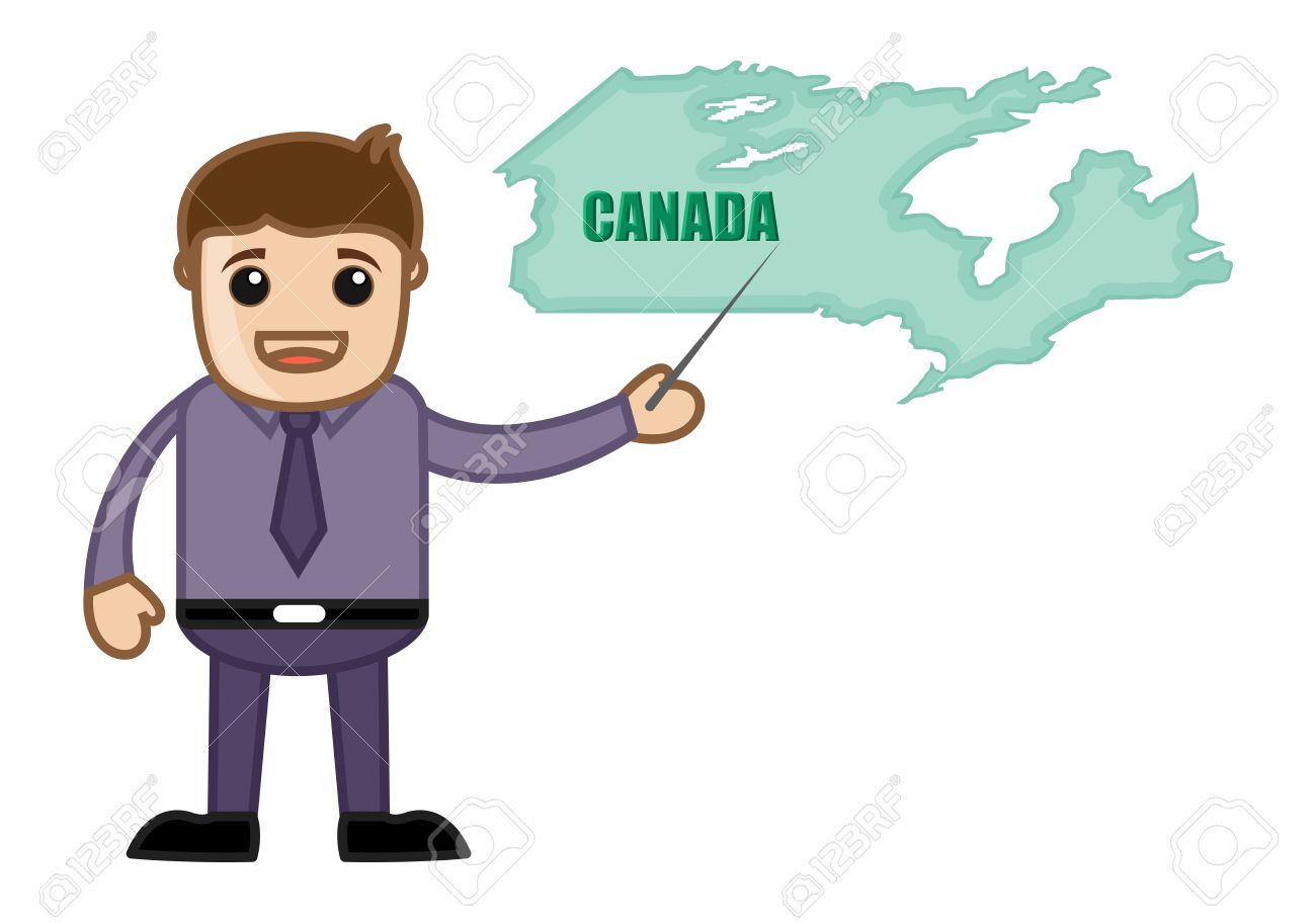 Showing Canada Map Business Office Cartoon Character Royalty – Map Showing Canada
