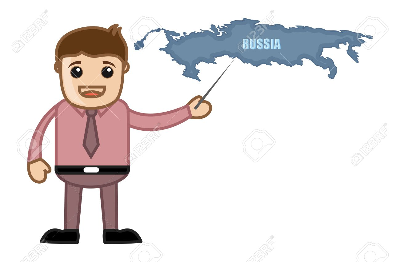 Showing Russia Map Business Office Cartoon Character Royalty