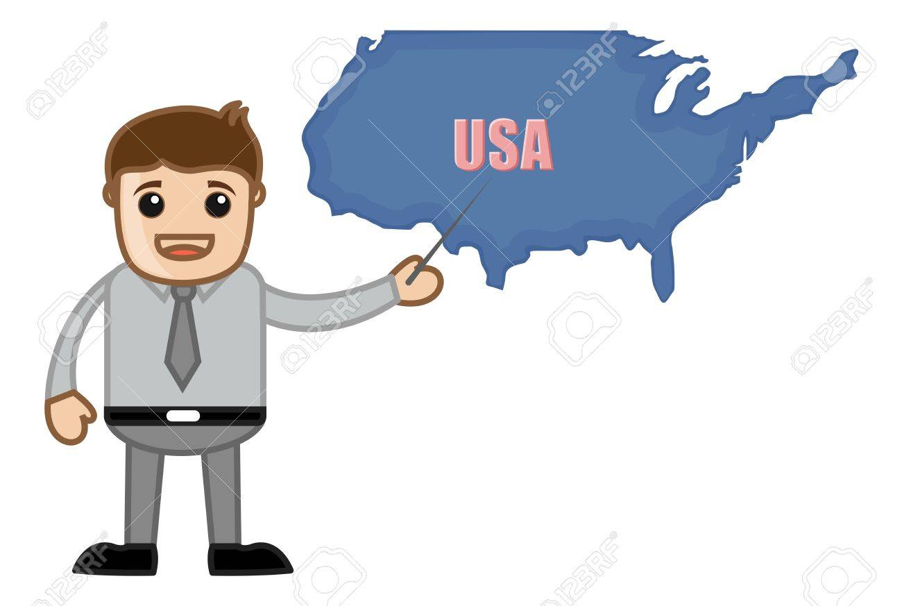 Showing Usa Map Business Office Cartoon Character Stock Vector 21280456