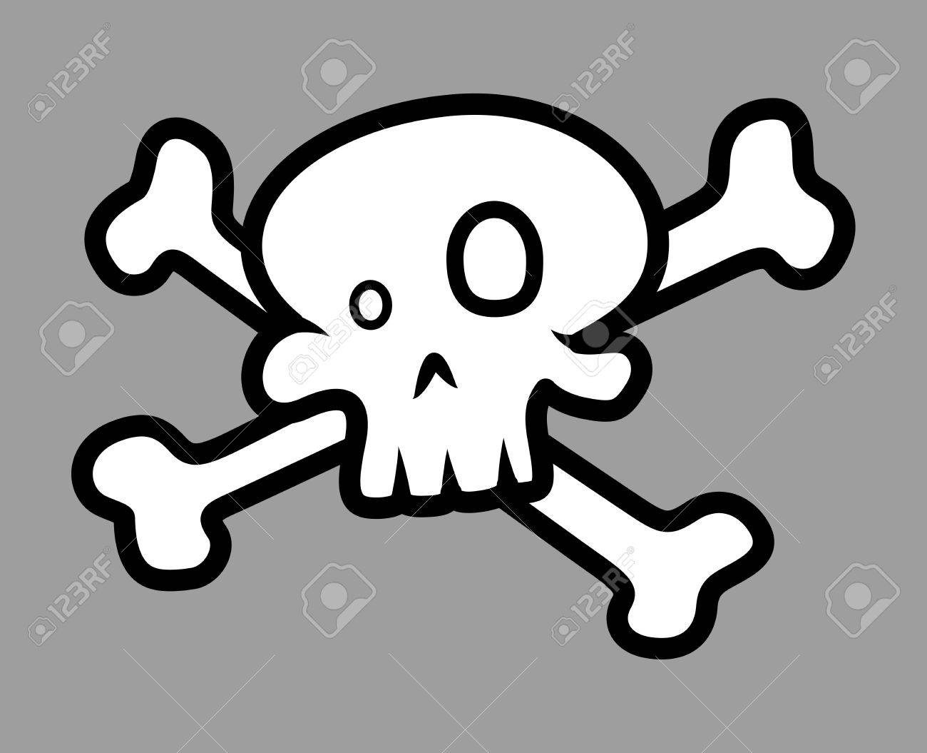 cartoon crossed skull vector cartoon illustration royalty free