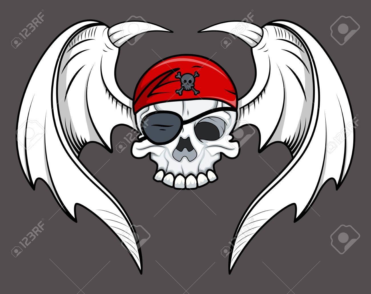 Flying Pirate Skull - Vector Cartoon Illustration Stock Vector - 21505571