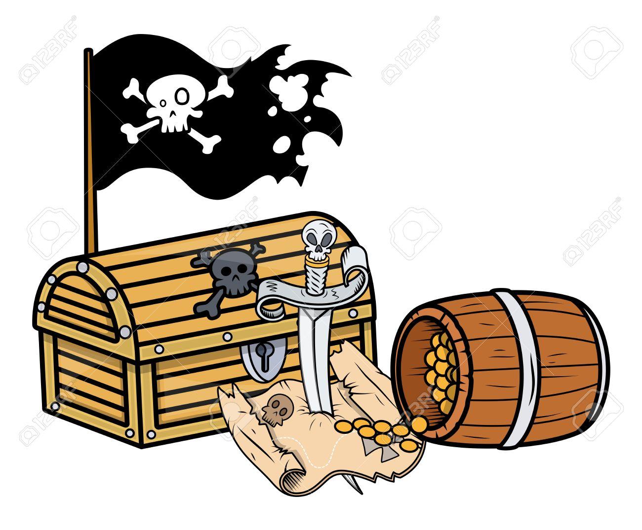 pirate treasure - Vector Cartoon Illustration Stock Vector - 21505811
