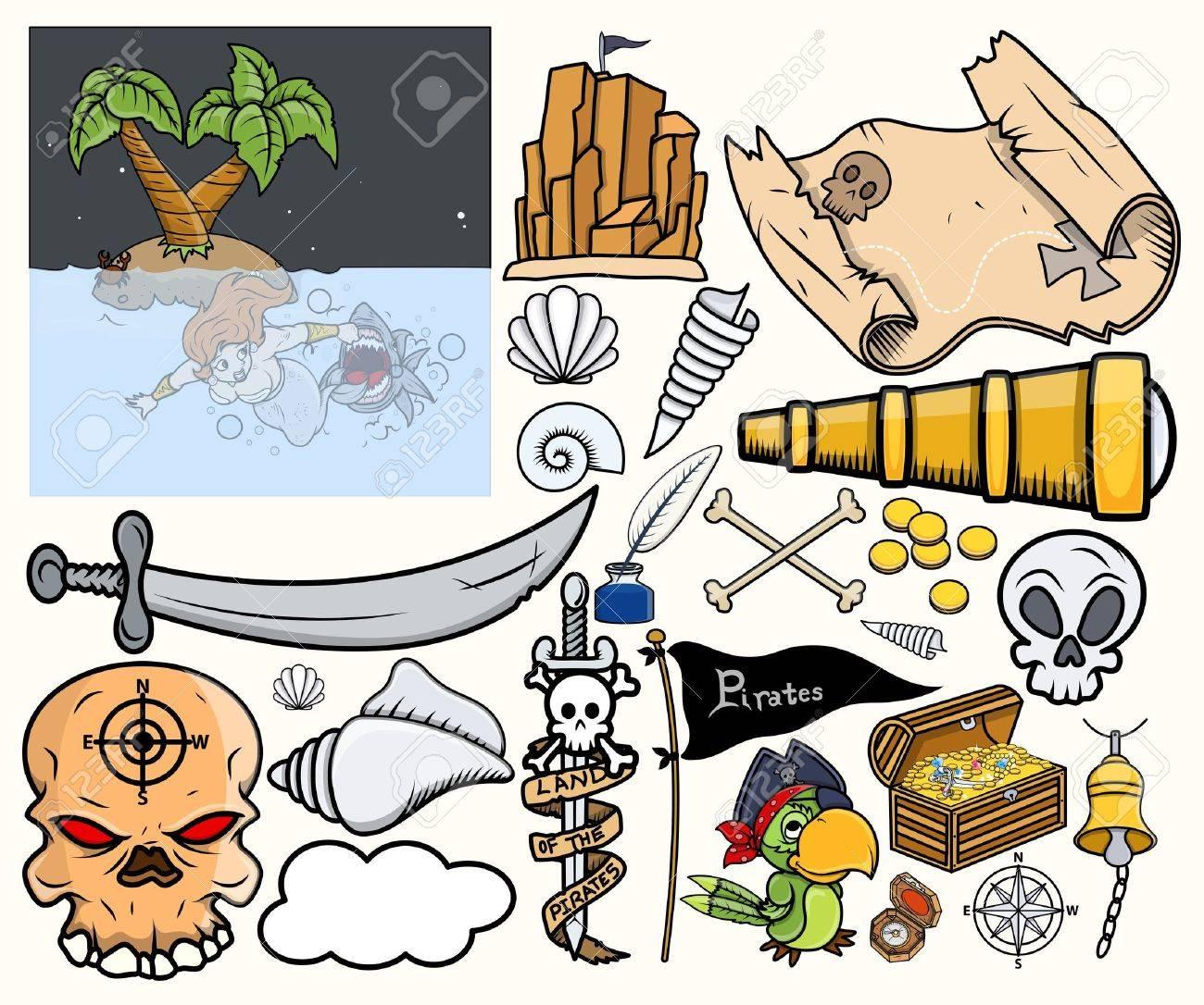 Pirate Treasure Hunt Vector Illustrations Set Stock Vector - 21505897