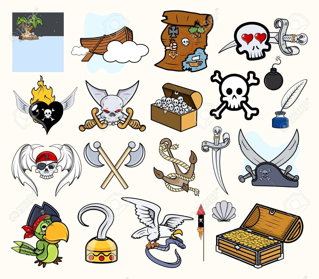 Pirate Cartoon Vectors Set Stock Vector - 21505904