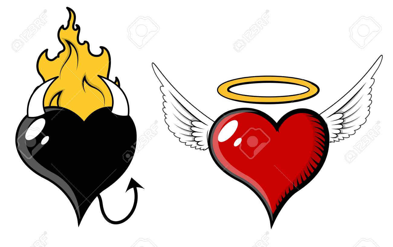Angel And Evil Heart - Vector ...