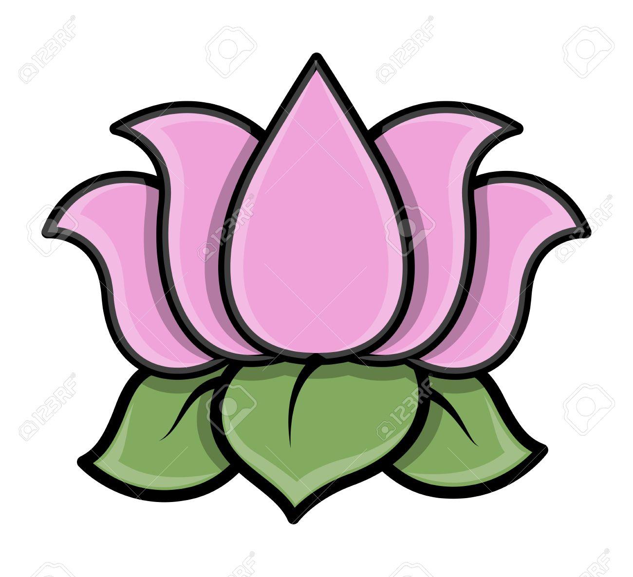 Lotus Flower Cartoon Vector Illustration Royalty Free Cliparts