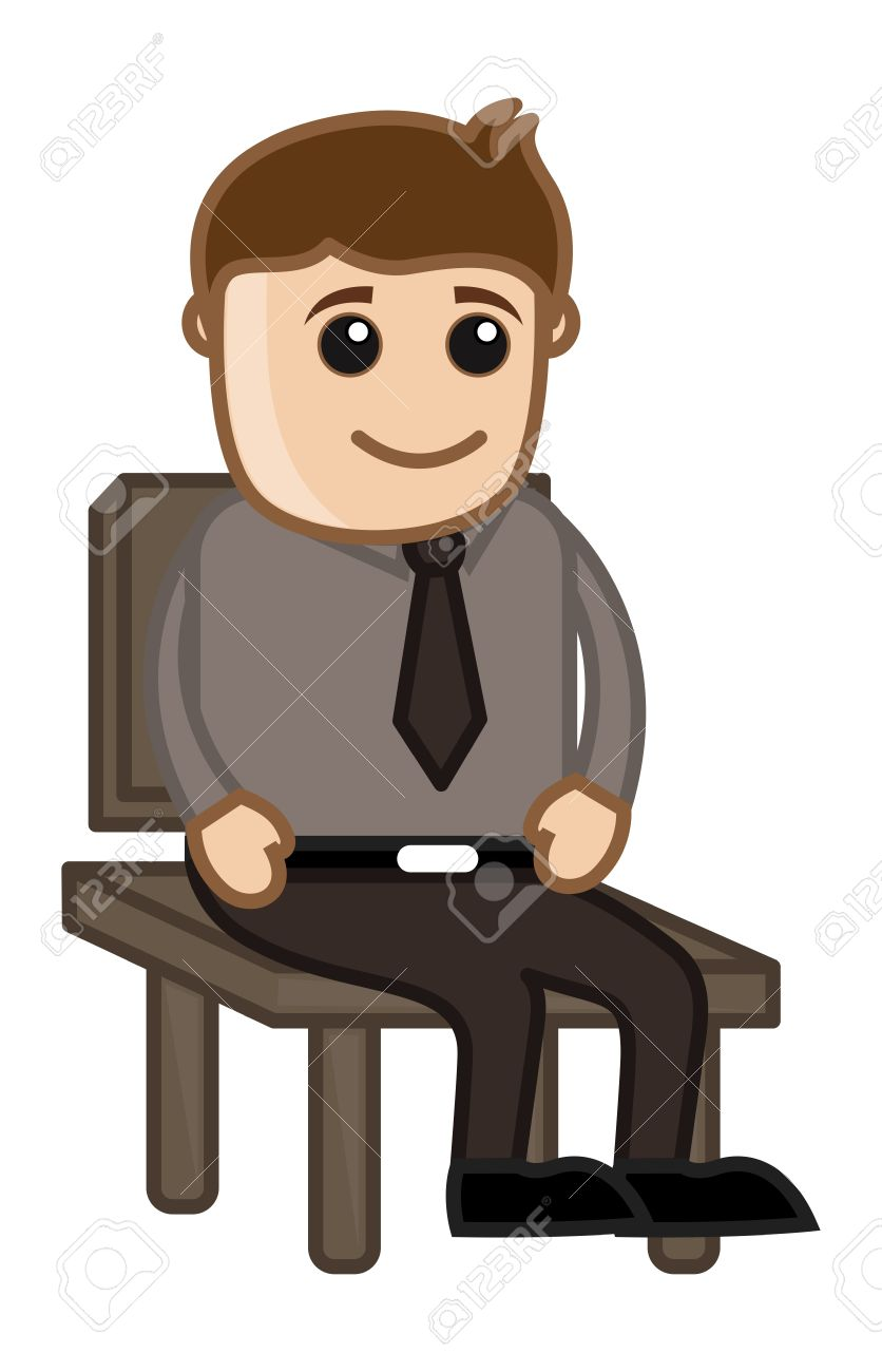 Man Sitting On A Chair Office Corporate Cartoon People Royalty