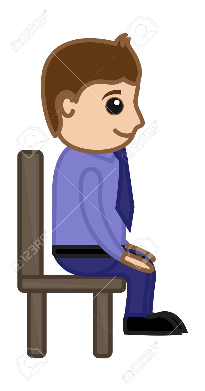 Man Sitting On Chair Office Corporate Cartoon People Royalty Free