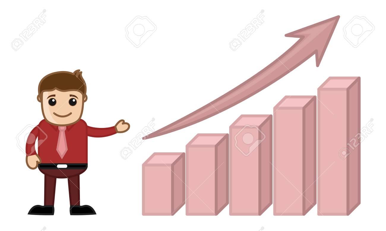 Stats Bar Growing Up Cartoon Business Character Stock Vector - 21983760