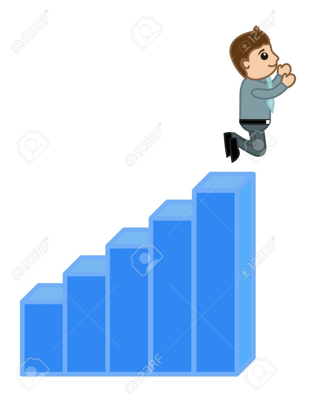 Man Jumped Over the Stats Bar - Profit and Success Concept Vector Stock Vector - 21983762