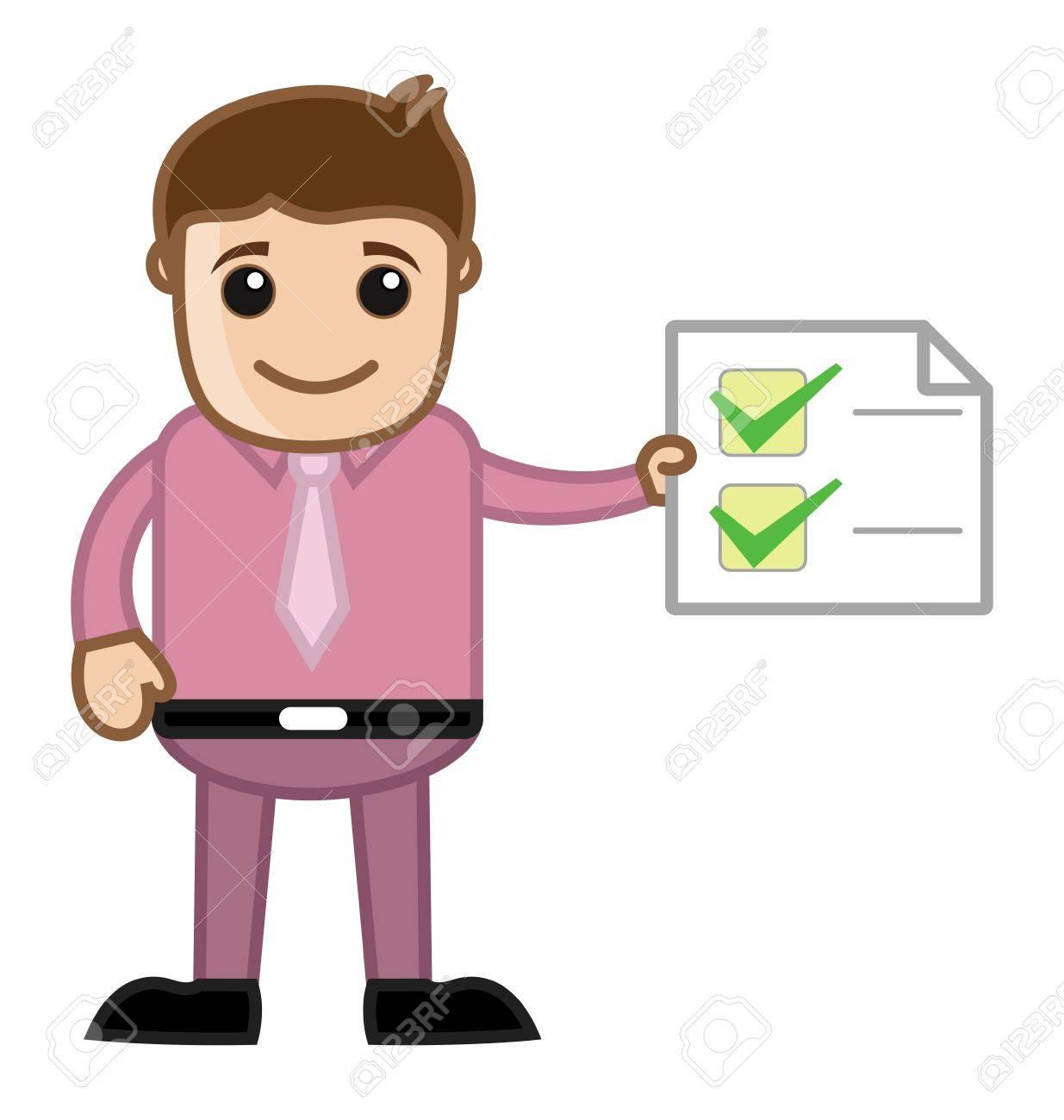 Work Done - Man Holding a Checklist - Business Cartoon Stock Vector - 21983787