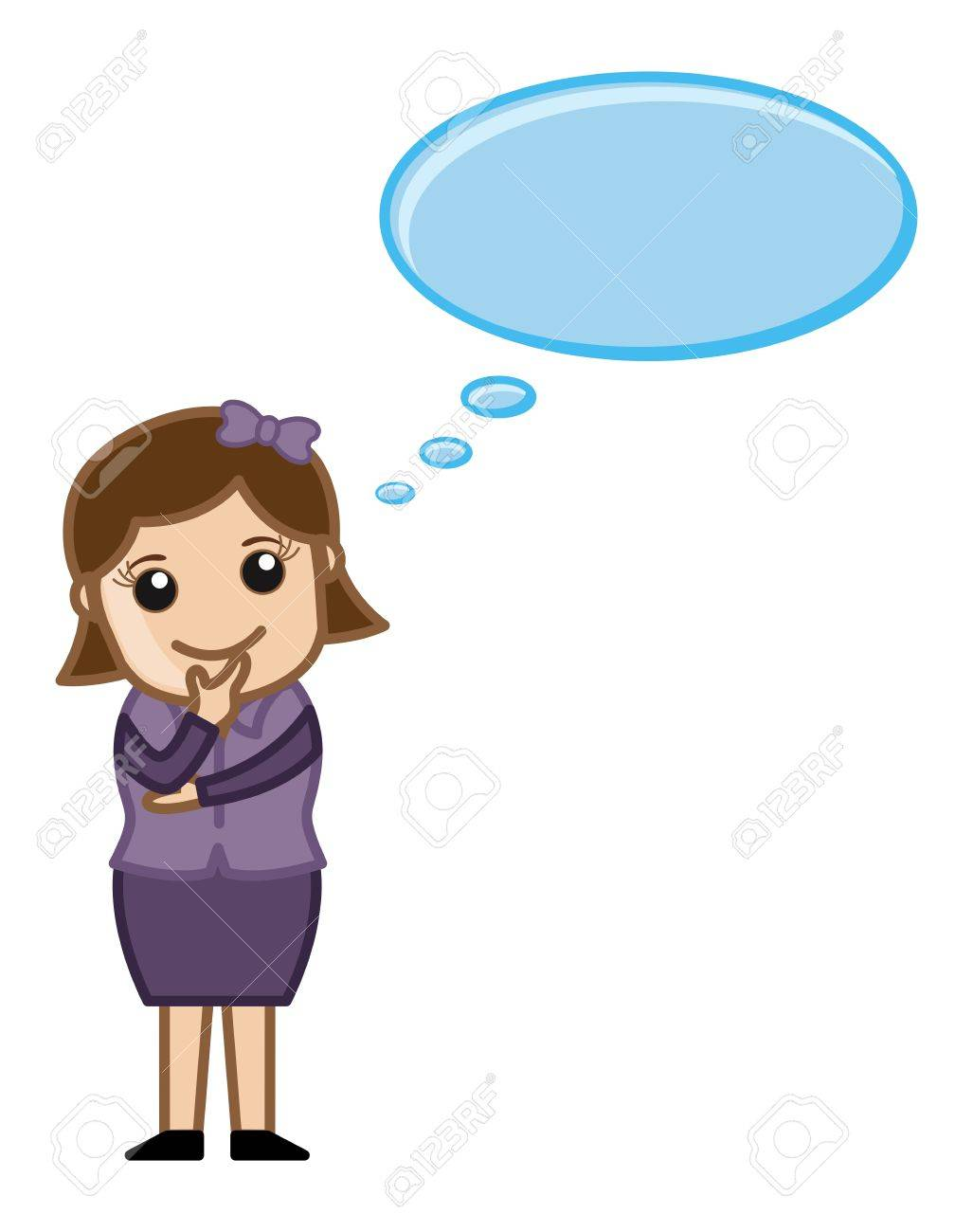 woman thinking - thought bubble - business cartoons vectors royalty