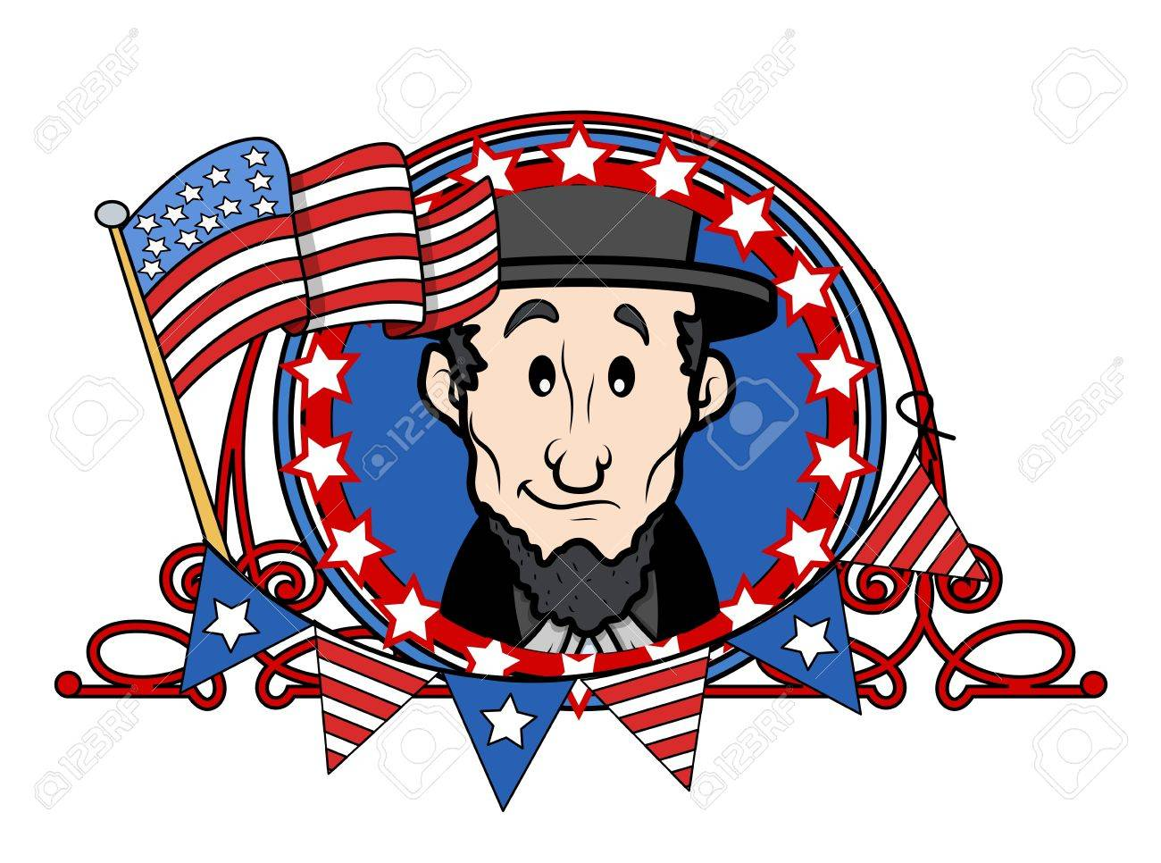 Abraham Lincoln Cartoon Vector Illustration Royalty Free Cliparts