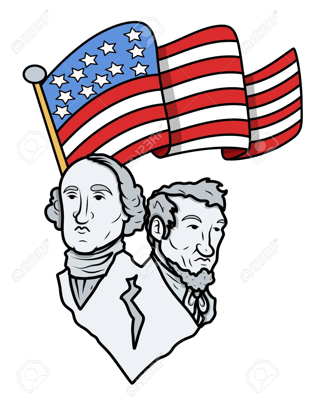 lincoln and washington with usa flag nation pride royalty free rh 123rf com abe lincoln clip art free abe lincoln clip art free
