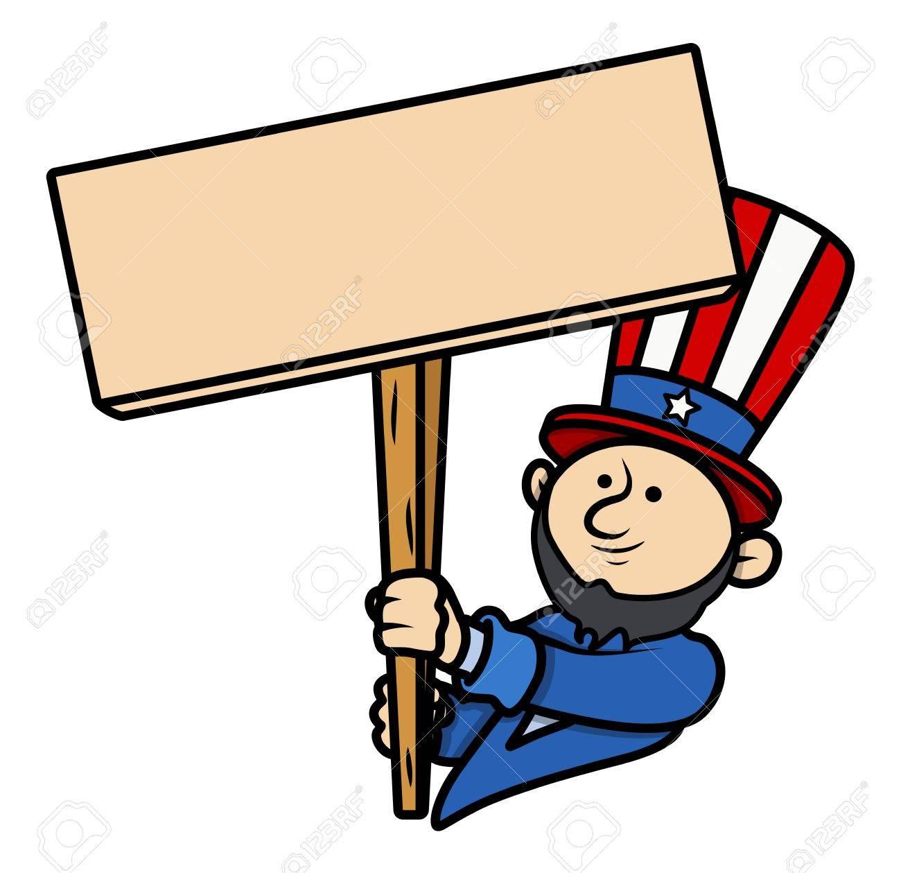 Cartoon Clip Art Lincoln Holding A Blank Board Royalty Free