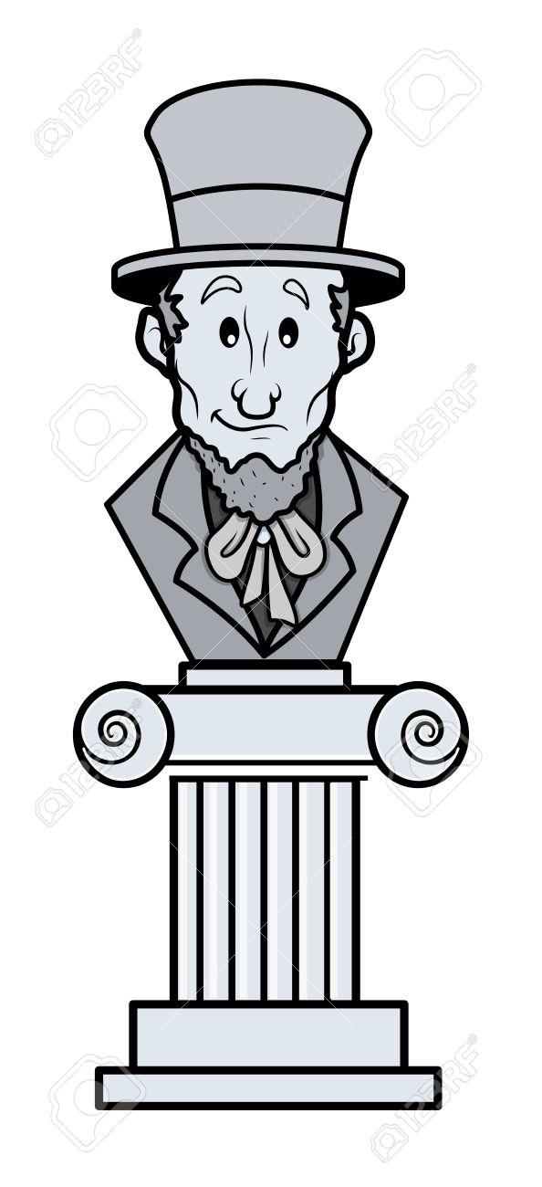 Abraham Lincoln Sculpture Cartoon Clip Art Vector Royalty Free