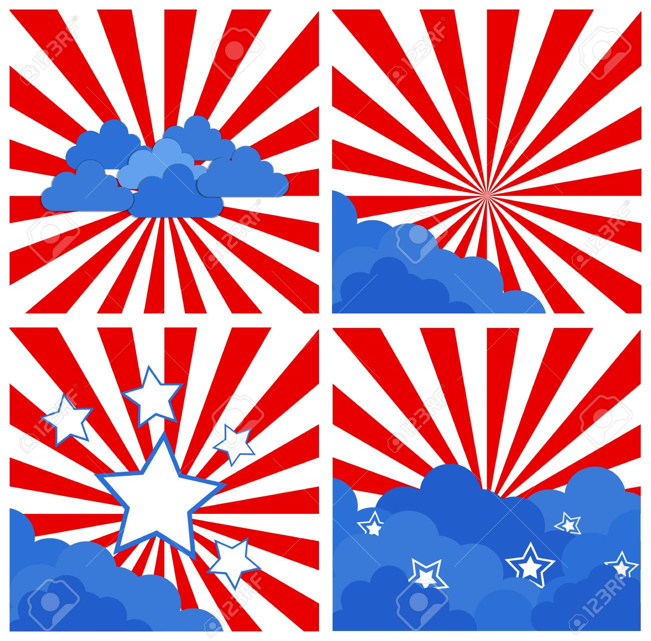 sunburst set - Patriotic USA theme Vector Stock Vector - 22318356