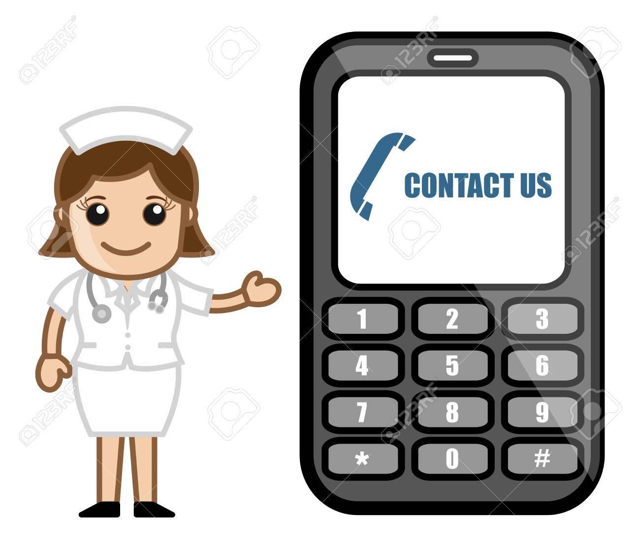 Contact Us via Phone - Medical Cartoon Vector Character Stock Vector - 22206827
